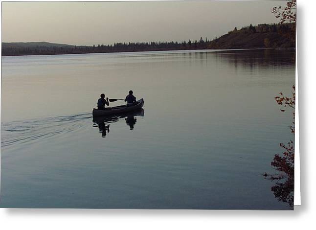 Canoe Greeting Cards - Evening Ride Greeting Card by Andrea Arnold