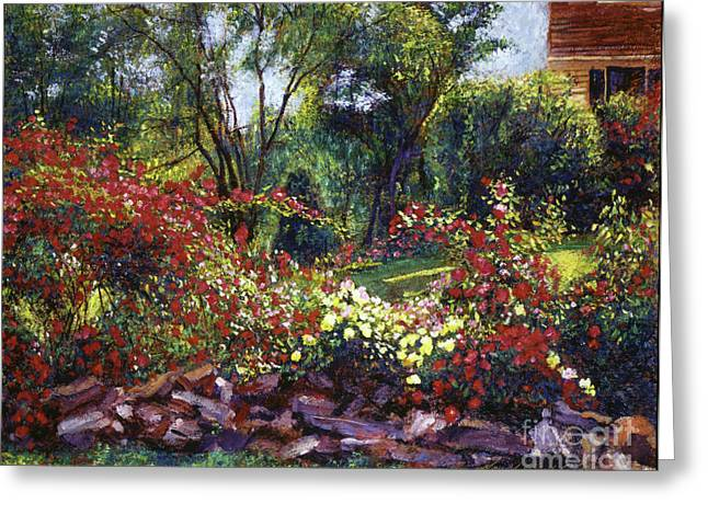 Most Paintings Greeting Cards - Evening Roses Greeting Card by David Lloyd Glover