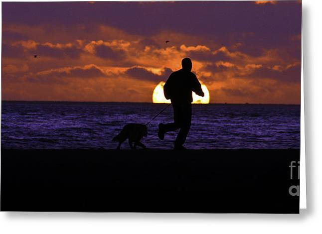 Evening Run On The Beach Greeting Card by Clayton Bruster