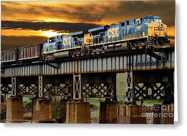 Train Tracks Greeting Cards - Evening Run Greeting Card by Tim Wilson