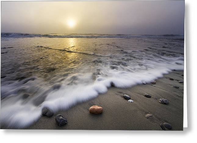Foggy Beach Greeting Cards - Evening Rush Greeting Card by Debra and Dave Vanderlaan