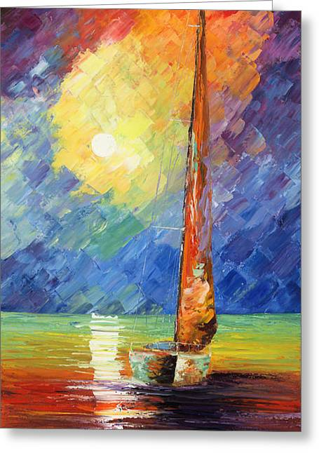 Luna Greeting Cards - Evening Sail Greeting Card by Ash Hussein