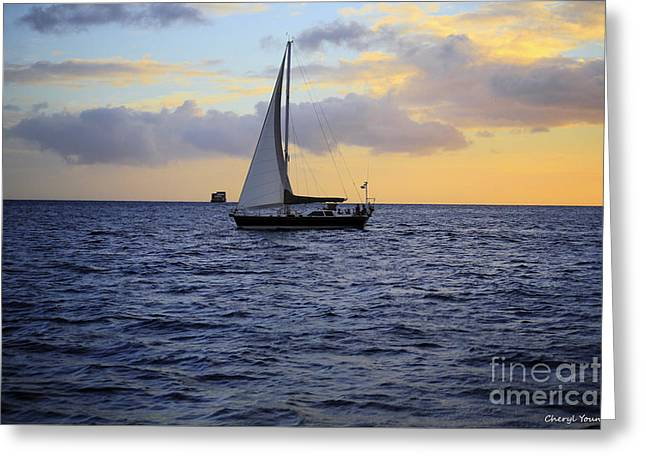 Ocean Images Photographs Greeting Cards - Evening Sail Greeting Card by Cheryl Young