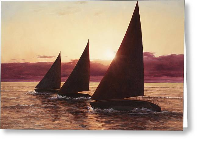 Sunset Prints Greeting Cards - Evening Sails Greeting Card by Diane Romanello