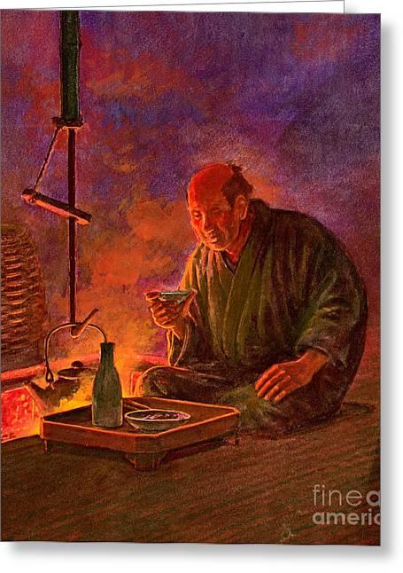 Sake Bottle Greeting Cards - Evening Sake 1913 Greeting Card by Padre Art