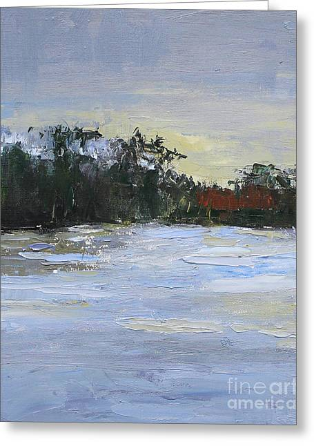 Dusk At The Lake Greeting Cards - Evening Greeting Card by Sandy Lane
