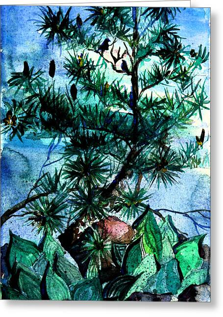 Pine Cones Greeting Cards - Evening Song Greeting Card by Mindy Newman