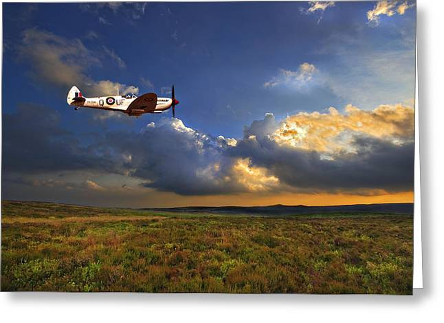 Flying Planes Greeting Cards - Evening Spitfire Greeting Card by Meirion Matthias