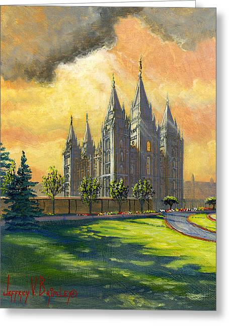 Salt Lake Temple Greeting Cards - Evening Splendor Greeting Card by Jeff Brimley