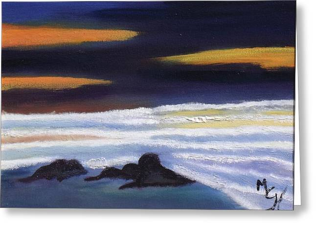 Original Paining Greeting Cards - Evening Sunset on Beach Greeting Card by Margaret Harmon