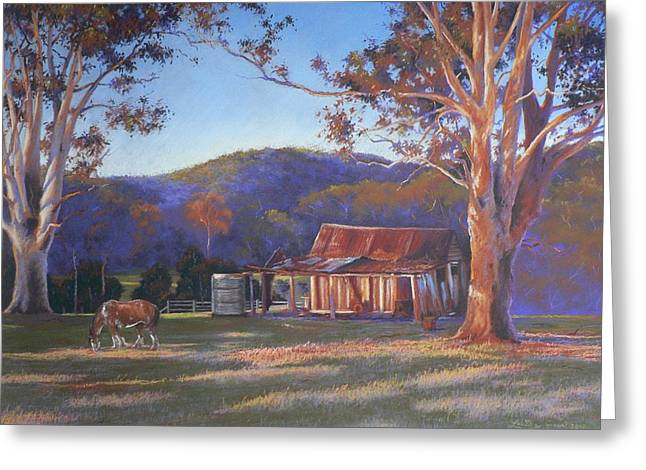 Sheds Pastels Greeting Cards - Evening Tapestry Dyers Crossing Greeting Card by Louise Green