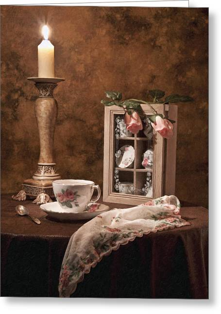Teacup Greeting Cards - Evening Tea Still Life Greeting Card by Tom Mc Nemar
