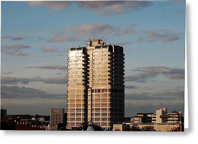 Evening View Of Murray John Tower In Swindon Greeting Card by Nick Temple-Fry