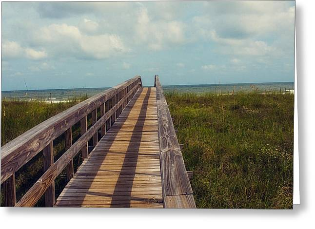Florida Bridge Greeting Cards - Evening walk to the beach Greeting Card by Toni Hopper