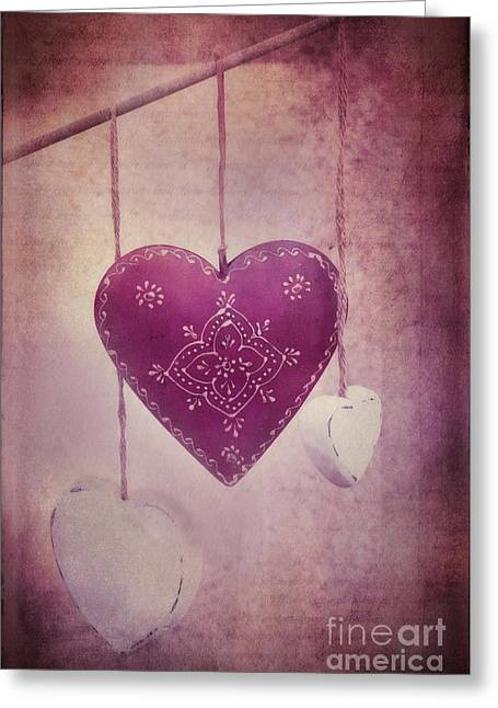 Pink Heart Greeting Cards - Ever And Anon Greeting Card by Priska Wettstein