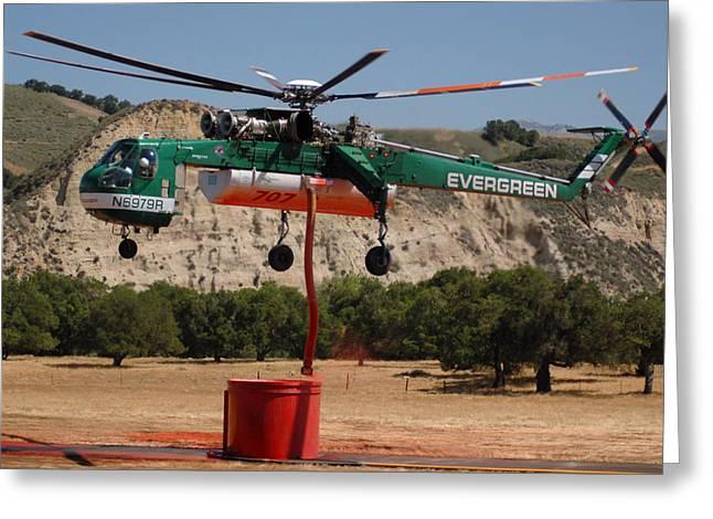 Sikorsky Photographs Greeting Cards - Evergreen Sikorsky S-64E Skycrane N6979R Tanker 707 Greeting Card by Brian Lockett