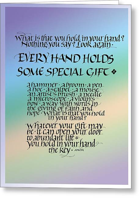 Jewel Tone Greeting Cards - Every Hand Greeting Card by Judy Dodds