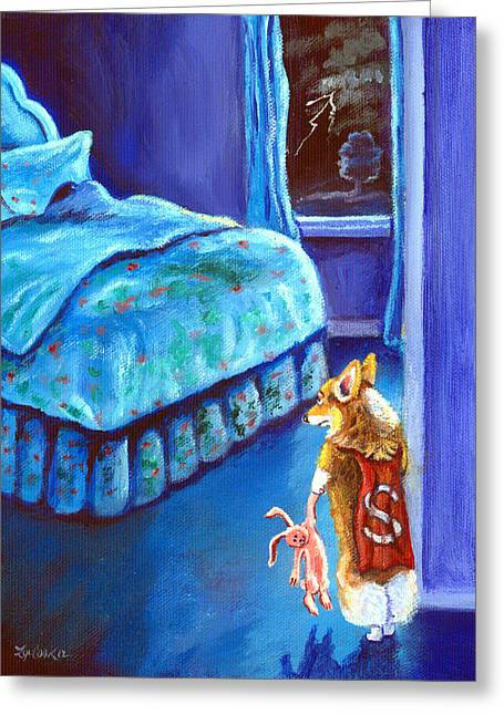 Puppies Paintings Greeting Cards - Every Super Hero has a Moment Greeting Card by Lyn Cook