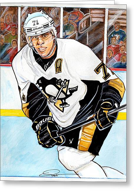 Pittsburgh Drawings Greeting Cards - Evgeni Malkin Greeting Card by Dave Olsen