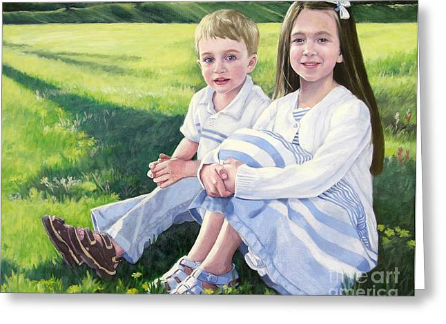 Yellow Sweater Greeting Cards - Evie and Kenneth Greeting Card by Kathryn Donatelli