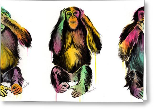 Monkey Greeting Cards - Evil Delux Greeting Card by Matt Truiano