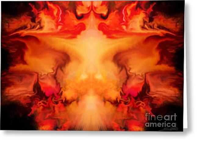 Spano Greeting Cards - Evil Red Abstract by Spano Greeting Card by Michael Spano