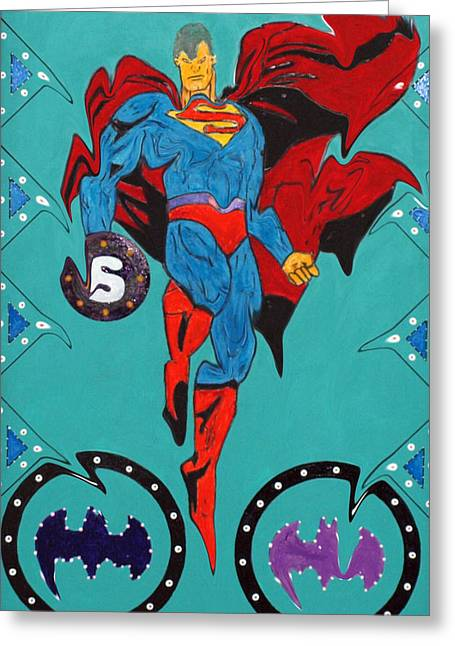 Gotham City Drawings Greeting Cards - Evil Superman Greeting Card by Robert Margetts