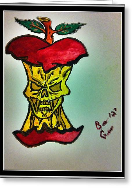 Tattoo Flash Greeting Cards - Evil To The Core Greeting Card by Brett Genda