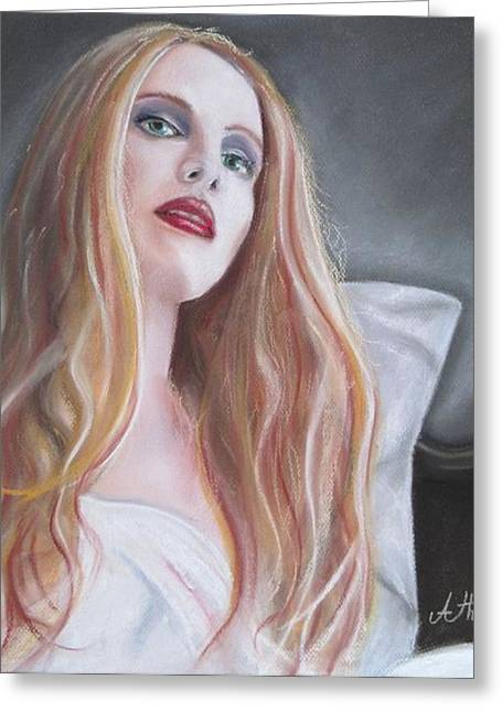 Chest Pastels Greeting Cards - Evil woman Greeting Card by Antonios Theodosiou
