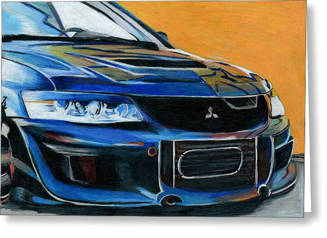 Prisma Colored Pencil Greeting Cards - Evo Greeting Card by Ian Tullock