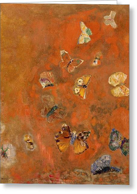 Abstracts Greeting Cards - Evocation of Butterflies Greeting Card by Odilon Redon