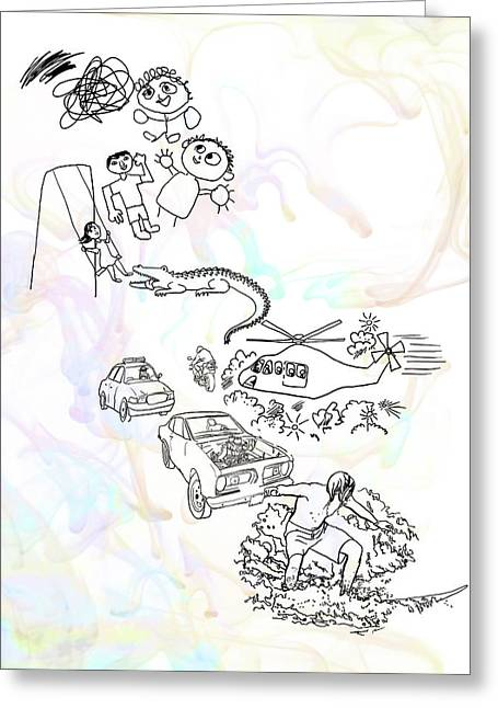 Surfer Drawings Greeting Cards - Evolution of an Artist Greeting Card by Francesa Miller