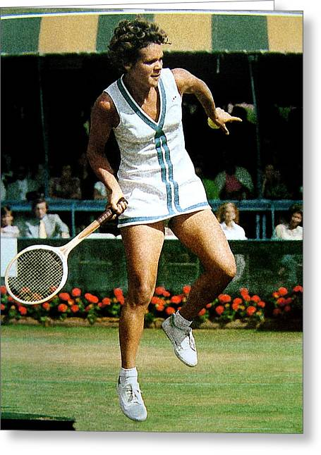 Evonne Goolagong Greeting Card by John Loyd Rushing