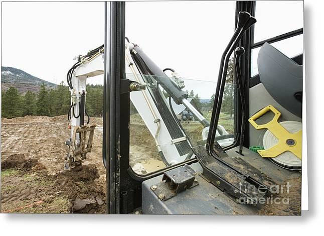 Controlling Development Greeting Cards - Excavator at a Construction Site Greeting Card by Andersen Ross