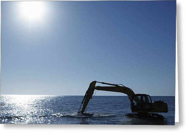 Copy Machine Greeting Cards - Excavator Digging in the Ocean Greeting Card by Skip Nall