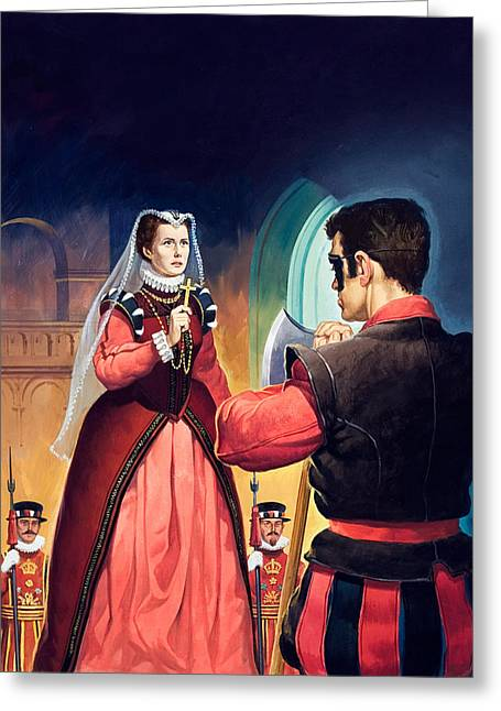 Doomed Greeting Cards - Execution of Mary Queen of Scots Greeting Card by English School
