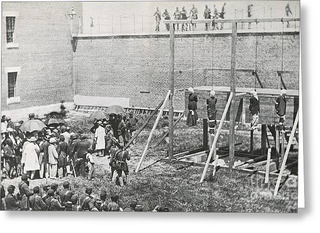 Civilian Greeting Cards - Execution Of The Booth Conspirators Greeting Card by Photo Researchers