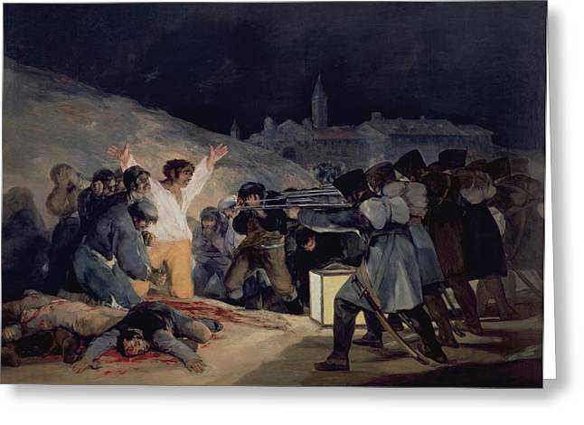 1828 Greeting Cards - Execution of the Defenders of Madrid Greeting Card by Goya