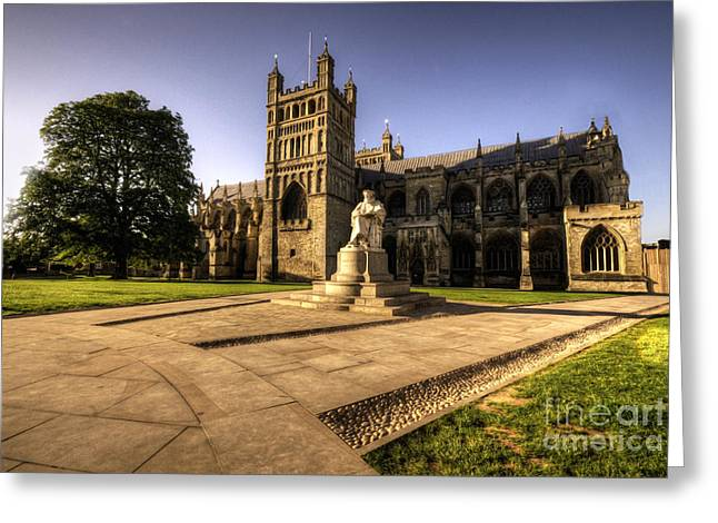 Exeter Greeting Cards - Exeter Cathedral Greeting Card by Rob Hawkins
