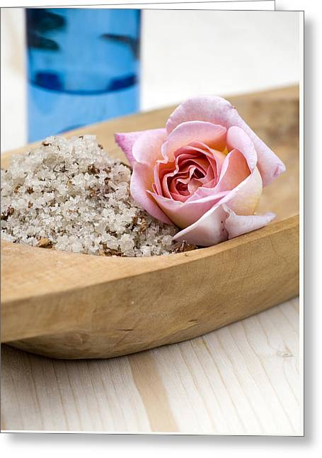 Skincare Greeting Cards - Exfoliating body scrub from sea salt and rose petals Greeting Card by Frank Tschakert