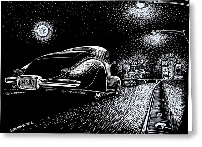Night Scenes Greeting Cards - Exit Ramp Greeting Card by Bomonster