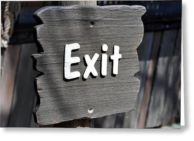 Exit Sign Greeting Cards - Exit sign. Greeting Card by Fernando Barozza