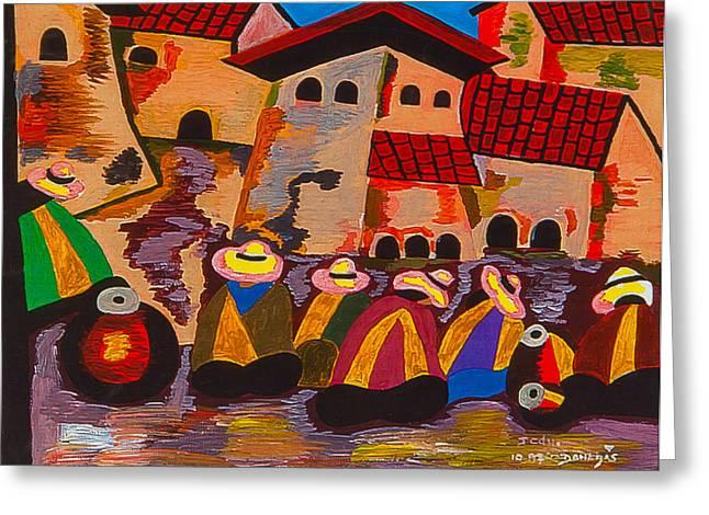 Poncho Paintings Greeting Cards - Exito II Greeting Card by Damaris Munoz Arias