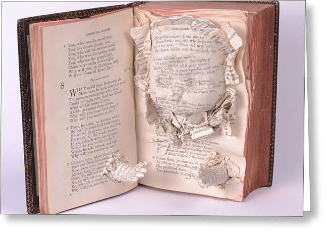 Book Sculptures Greeting Cards - Exorting sinners Greeting Card by Karen Cartwright