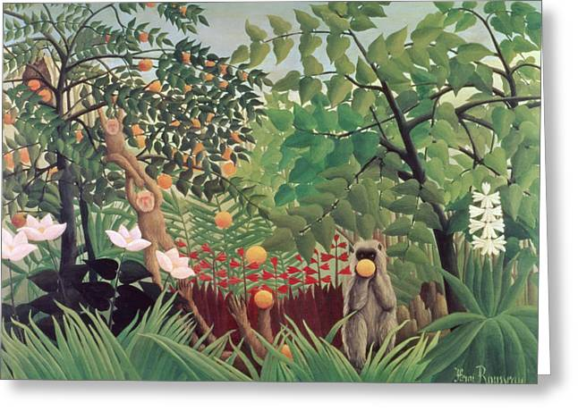 Exotic Fruit Greeting Cards - Exotic Landscape Greeting Card by Henri Rousseau