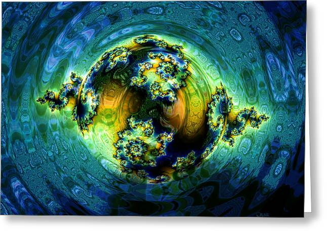 Fractal World Greeting Cards - Expanding World Greeting Card by Debra Martelli