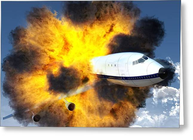 Terrorism Greeting Cards - Exploding Aeroplane Greeting Card by Roger Harris