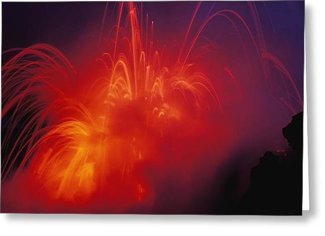 Emitting Greeting Cards - Exploding Lava Greeting Card by Greg Vaughn - Printscapes