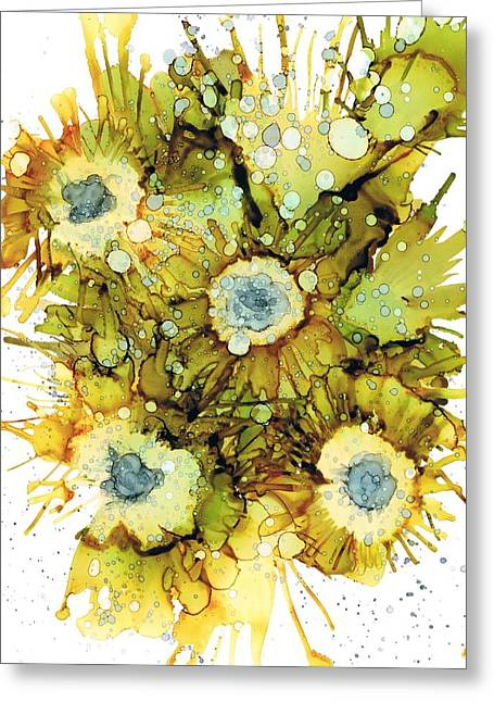 Alcohol Inks Greeting Cards - Exploding Sun Flowers Greeting Card by Christine Crawford