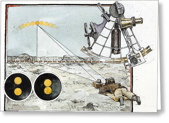 Surveying Greeting Cards - Explorer Robert E. Peary Uses The Sun Greeting Card by Richard Schlecht